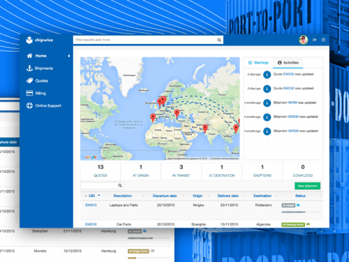 Shipwise - multimodal shipments management platform MVP development project, Syndicode