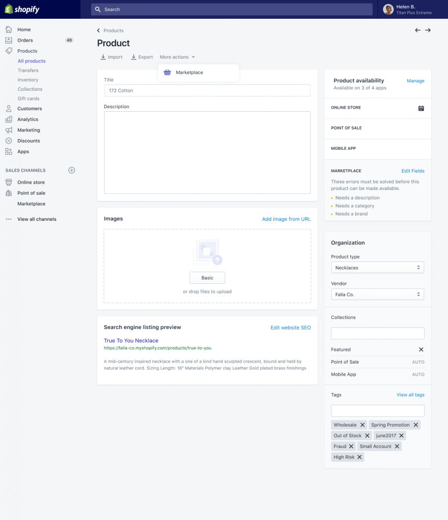 Shopify marketplace admin